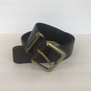 Fossil belt brown brass buckle M genuine leather